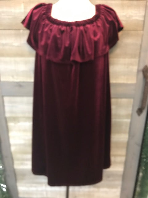 Velvet Elastic Neckline Dress