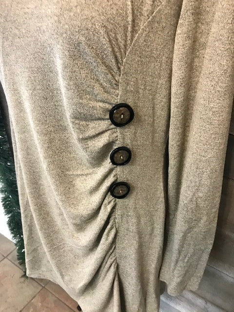 Long Sleeve Oatmeal Button Detailed Sweater