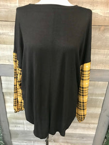 Black Bubble Sleeve Plaid Long Sleeve
