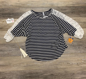 Navy/White Stripped 3/4 Shirt