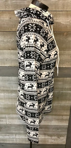 Black and White Reindeer Print Cowl Neck Sweatshirt