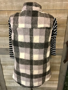 Grey/White Checkered Zip of vest
