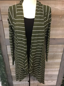 Olive/White Stripped Open Cardigan