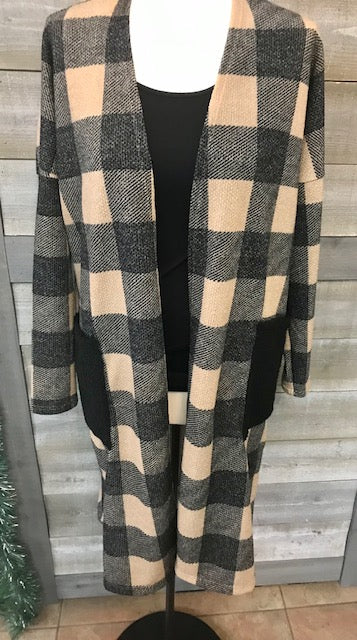 Tan/Black checkered cardigan with pockets