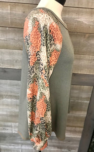 Olive Green Animal Print Bubble Sleeve