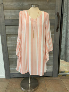 Bell Sleeve Peach and White Stripped Dress