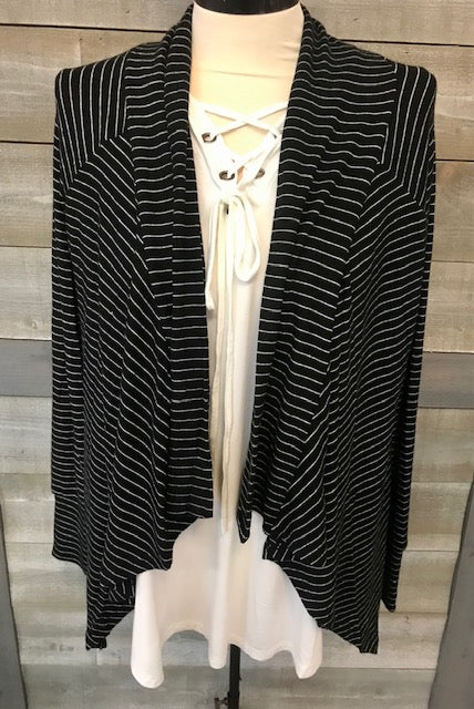 Blk/Wht Striped Fly Away Cardigan