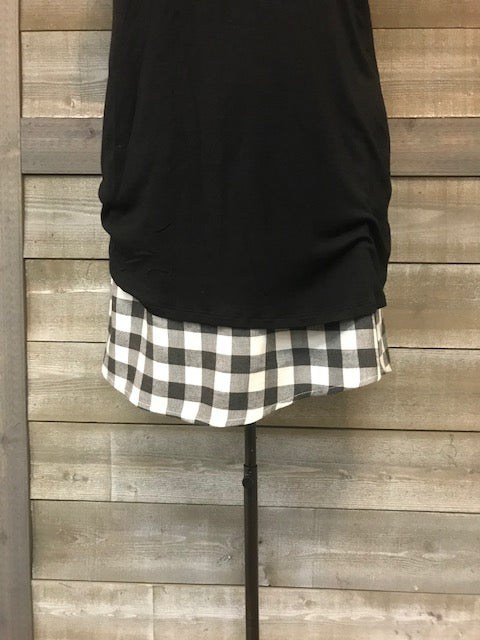 Charcoal Grey Checkered Shirt extender