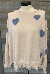 Feel The Love Fringe Sweater Blue