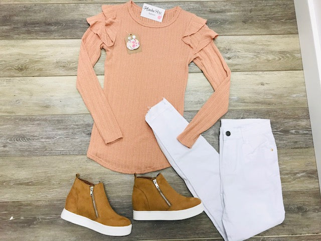 Long Sleeve Ruffle Puff Shoulder Top