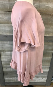 Mauve Lace Tie Front Bell Sleeve Top
