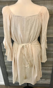 Bell Sleeve Ivory Tie Dress
