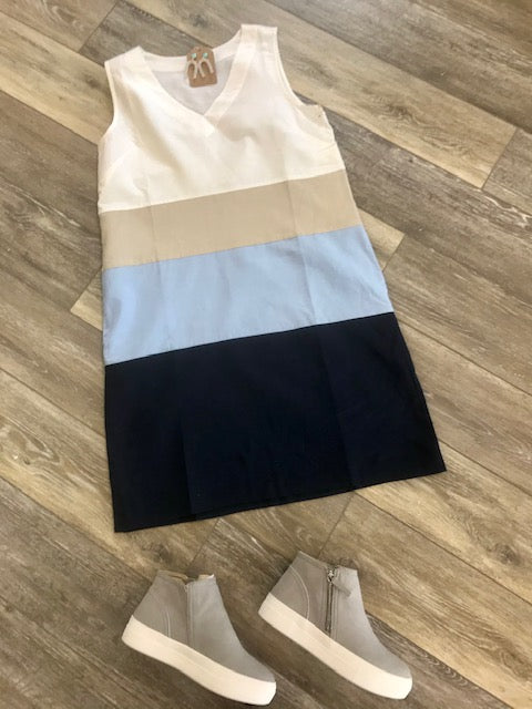 Nautical Striped Linen Sleeveless Dress