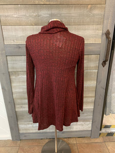 Burgundy Split Front Sweater