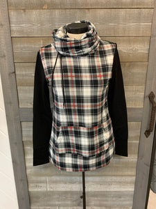 Black/Red/White plaid cowl neck sweater