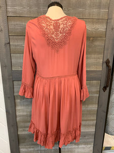 Deep Blush Flare Sleeve Dress