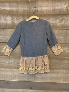 Denim Top with Beige Crochet Detailing
