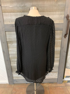 Black Long Sheer Sleeve V-Neck