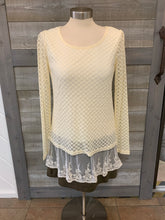 Off White Bubble Sheer Sleeve Top