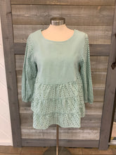 Sea-foam Green Ruffle Top