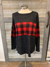 Red Plaid Stripped Sweater