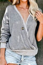 Waffle criss cross front heavy sweater