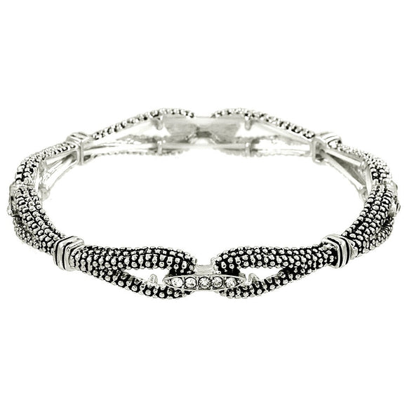 SILVER TEXTURED STACKABLE STRETCH BRACELET WITH CRYSTALS