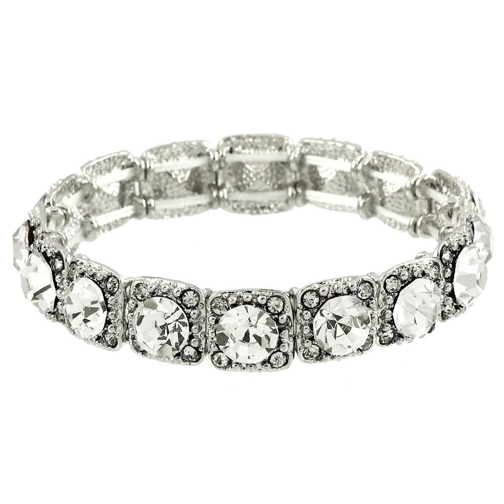 Cubic Zirconia Stretch Bracelet - Clear - Lunga Vita Designs