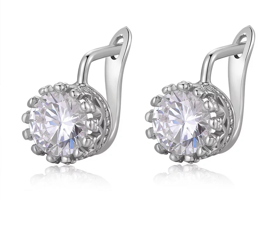 SILVER CROWN CUBIC ZIRCONIA LEVERBACK EARRINGS - SILVER - Lunga Vita Designs