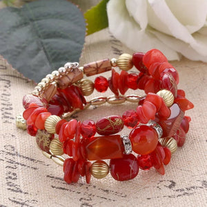 SHELLS AND BEADS WRAP BRACELET - RED