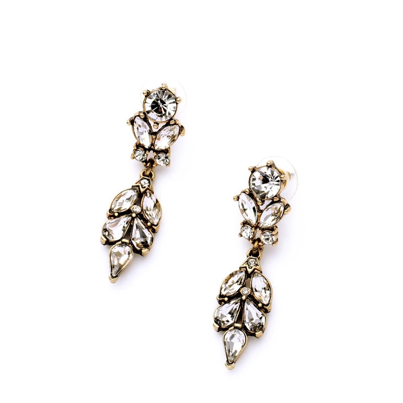 Antiqued Gold Crystal Drop Earrings - Lunga Vita Designs