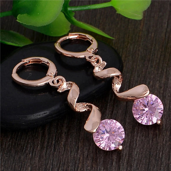 ROSE GOLD SQUIGGLE LEVERBACK EARRINGS WITH PINK CZ - Lunga Vita Designs