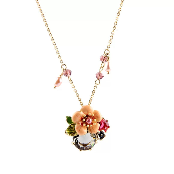 FRENCH ENAMEL FLORAL NECKLACE