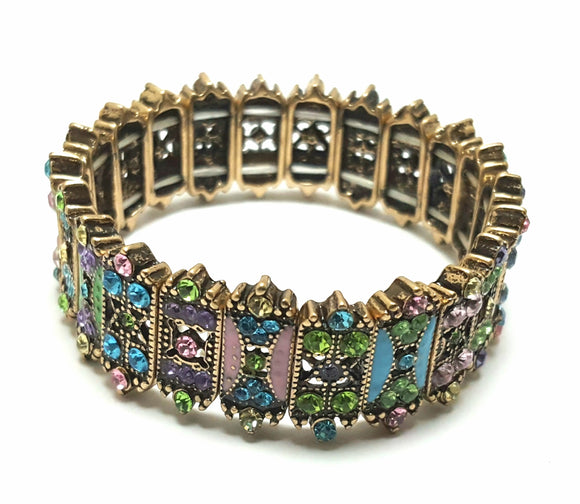 VINTAGE CRYSTAL STRETCH BRACELET - ANTIQUE GOLD & PASTELS
