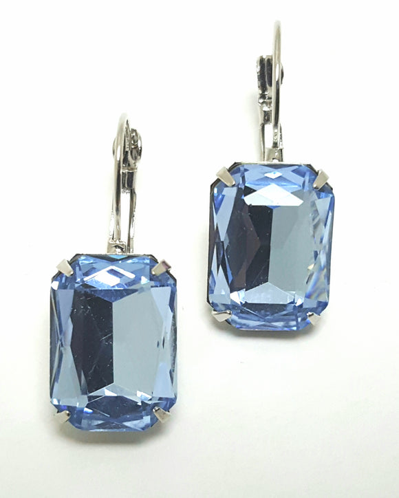 FACETED RECTANGLE CRYSTAL LEVERBACK EARRINGS - AZURE