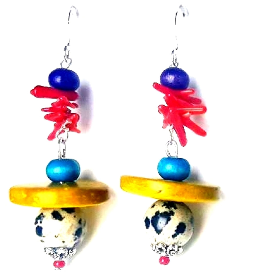 Dalmatian Stone and Red Coral Dangle Earrings - Lunga Vita Designs