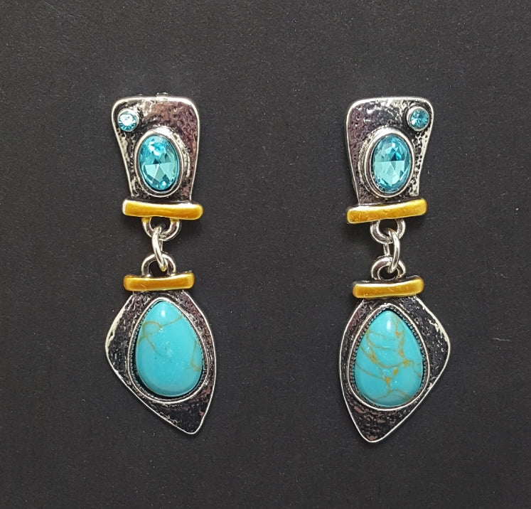 Aqua Crystal and Stone Dangles - Lunga Vita Designs