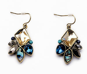 CRYSTAL AND ABALONE EARRINGS