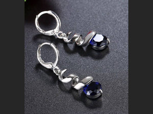 SILVER SQUIGGLE EARRINGS | BLUE