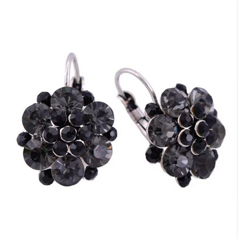Crystal Flower Cluster Lever Back Earrings | Black - Lunga Vita Designs