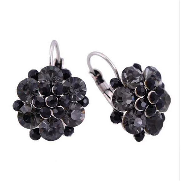 CRYSTAL FLOWER CLUSTER LEVERBACK EARRINGS - BLACK