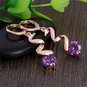 ROSE GOLD SQUIGGLE LEVERBACK EARRINGS WITH PURPLE CZ
