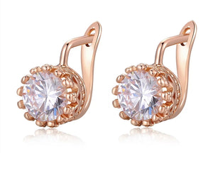 ROSE GOLD CROWN CUBIC ZIRCONIA LEVERBACK EARRINGS