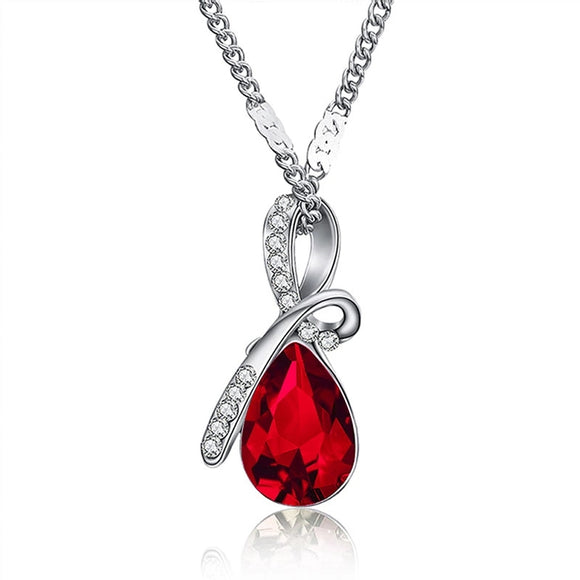 ROMANTIC CUBIC ZIRCONIA TEAR DROP PENDANT - FUSCHIA