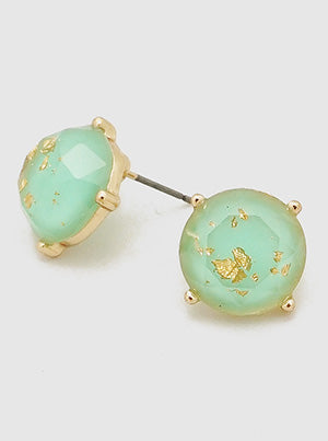 ROUND GOLD FLECKED RESIN FACETED STUD EARRING - MINT