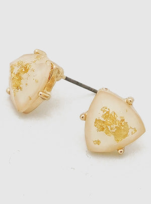 TRIANGLE GOLD FLECKED RESIN FACETED STUD EARRINGS - IVORY