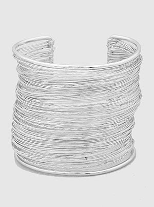 WIRE STRANDS OPEN CUFF - SILVER