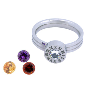 ROMAN NUMERAL RING WITH INTERCHANGEABLE CUBIC ZIRCONIA - SILVER