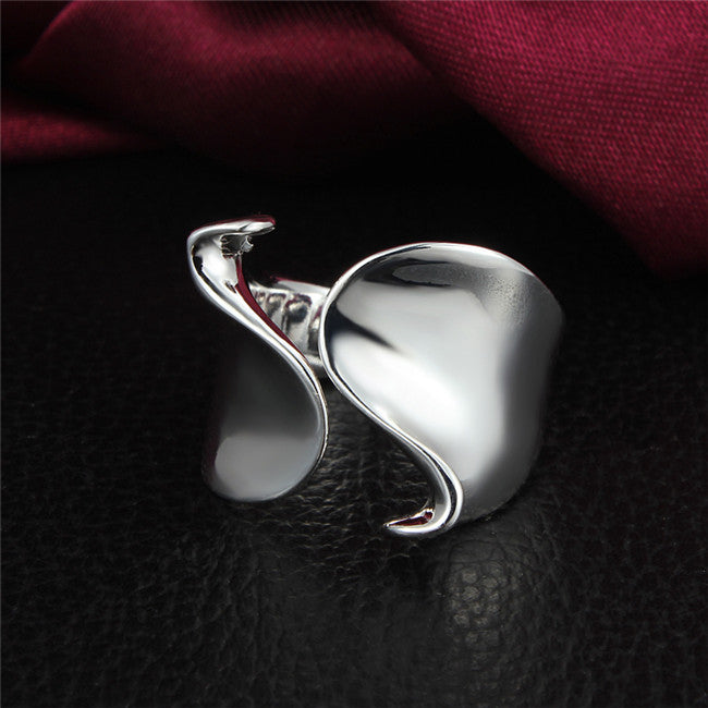 Open Front Silver Wave Ring - Lunga Vita Designs