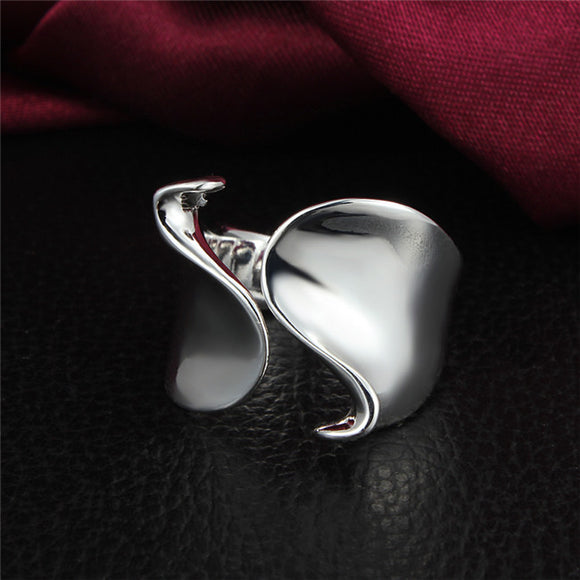 OPEN FRONT SILVER WAVE RING